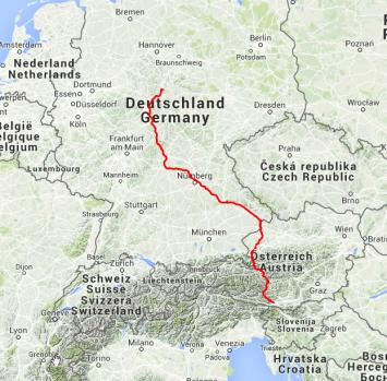 Die Strecke der ersten zwei Tage: Von der Mitte Deutschlands über Passau nach Villach, rund 900 Kilometer.