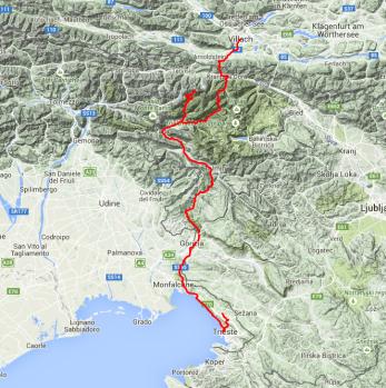 Tour des Tages: Villach durchs Gebirge bis nach Triest.