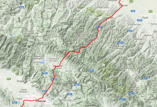 Querung des Apennin: Bei Faenza in die Berge, genau auf der Grenze zwischen Toskana und Emilia-Romagna entlang gefahren, bei Florenz wieder rausgekommen.