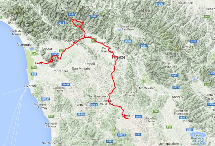 Von Pisa über Montecatini Terme und Pistoia bis nach Mammiano, dann über Prato und Florenz nach Siena. Rund 250 Kilometer.