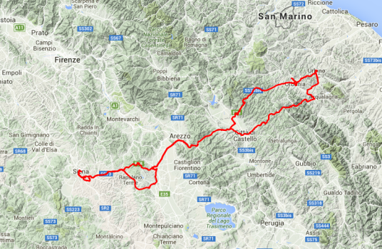 Siena-Urbania-Urbino und zurück, ca. 400 Kilometer. Ein heftiger Tagesausflug.