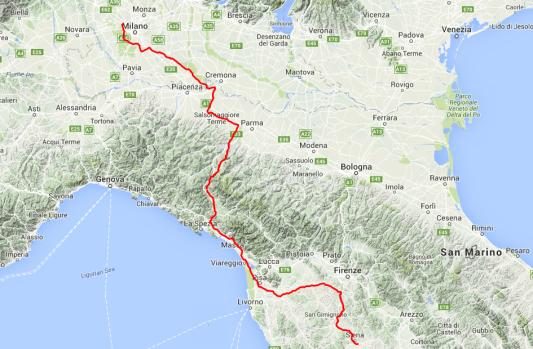 Tour des Tages: Von Siena nach Mailand, rund 450 Kilometer, rund 8 Stunden Fahrzeit.