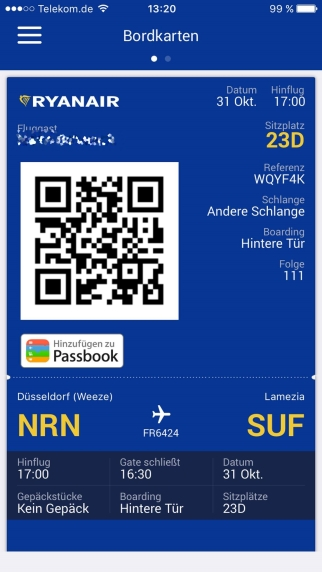 Ist ja heute alles elektrisch: Boardingkarte auf dem Smartphone.