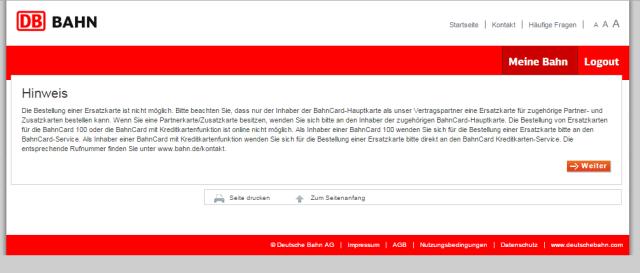 DB BAHN - Hinweis