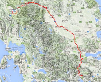 Von Ionannina nach Westen zu den Meteora-Klöstern, dann nach Süden. Rund 340 Kilometer.