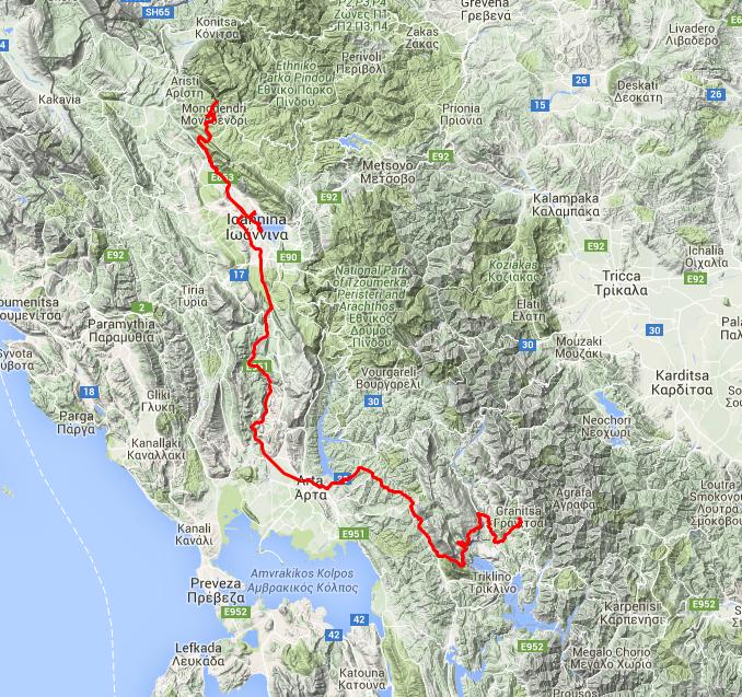 Tour des Tages: Von Granitsa nach Ioannina, rund 200 km.