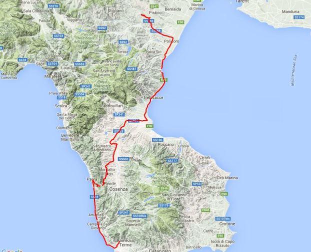 Von Lamezia nach Norden, durch den Appenin, dann an der Sohle des Stiefels entlang durch die Basilicata.
