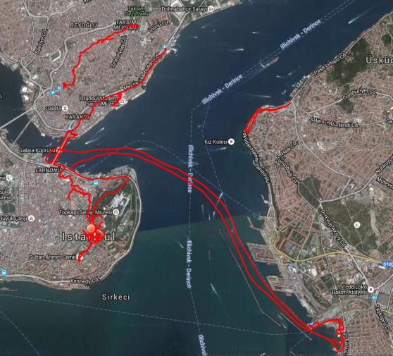 Der Tag in Istanbul: Zuerst unterwegs in der Altstadt, dann ein unfreiwilliger Ausflug mit der Fähre nach Asien, danach durch Einkaufsviertel und schließlich nochmal nach Asien zum Abendessen.