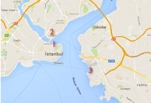 Eigentlich wollen wir nur von Eminönü (1) nach Beyoglu (2) übersetzen. Dummerweise landen wir in Kadiköy (3), was auf einem anderen Kontinent liegt.
