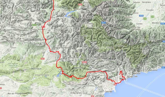 Tour des Tages: Von Saint Firmin die Gorge du Verdon entlang und nach Nizza, von dort nach Aspremont. Inklusive Verfahren in Nizza rund 360 Kilometer, aufgrund der gewundenen Strecke hat die Fahrt rund 7 Stunden gedauert.