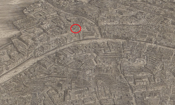 Wahnsinn: Auf der Barbari-Karte ist das Gebäude eingezeichnet, in dem ich 512 Jahre später übernachtet habe. Ok, vielleicht ist es nicht das selbe Haus, aber zumindest steht es am gleichen Fleck.