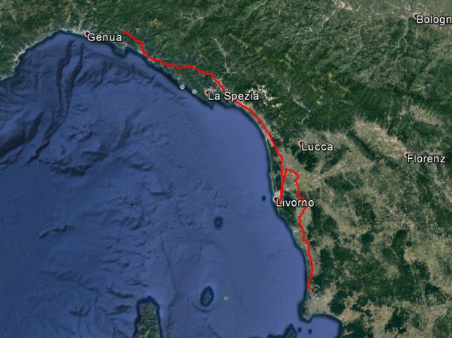 Tour ds Tages: Von Oma Norma zu Fabio, dann weiter zu Licio und Franca. Ungefähr 250 Kilometer.