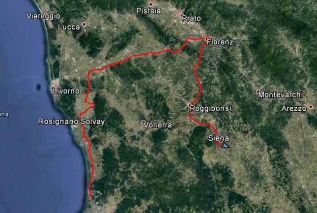 Tour des Tages: Von San Vincenzo Rumgedödel in der Eben von Santa Luce, dann nach Florenz und von dort nach Siena.