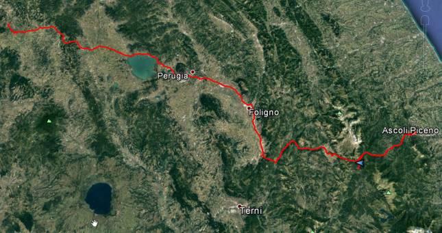 Tour des Tages: Von Siena nach Ascoli Piceno und zurück nach Grisciano, rund 300 Kilometer.