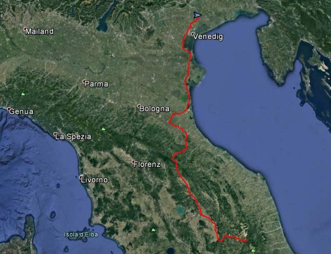 Tour des Tages: Von Grisciano über Fanza nach San Biagio di Callalta, rund 530 Kilometer und sieben Stunden Fahrzeit.