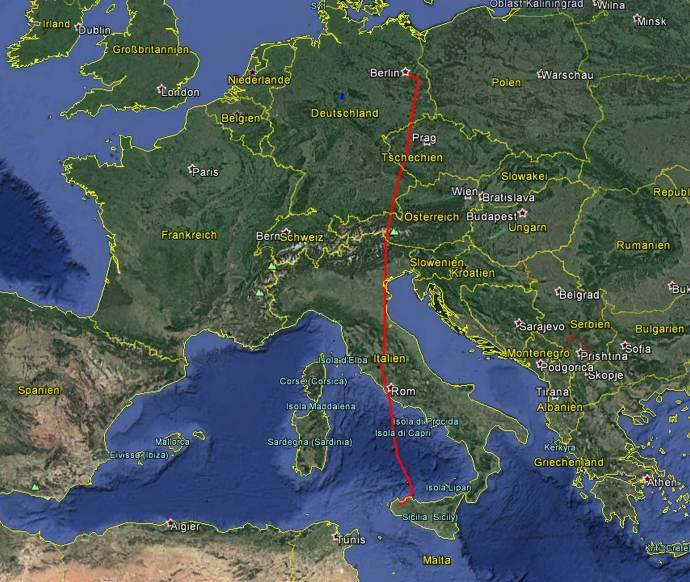 Etwas über 2 Stunden braucht das Flugzeug für 1.600 Kilometer.