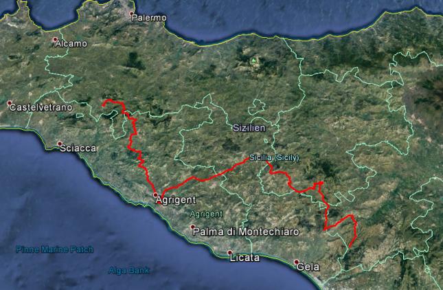 Tour des Tages: Von Chiusa Sclafani über Agrigent und die Villa Casale Romana in die Nähe von Caltagirone, rund 250 Kilometer.
