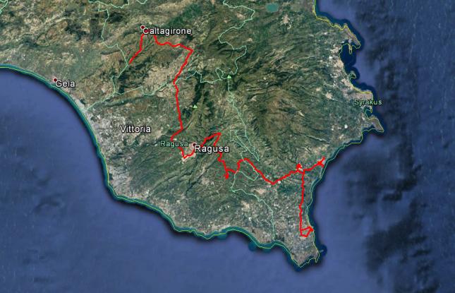 Tour des Tages: Von Caltagirone über Ragusa und Noto, dann eine Schleife nach Pachino, schließlich nach Avola. Rund 170 Kilometer.